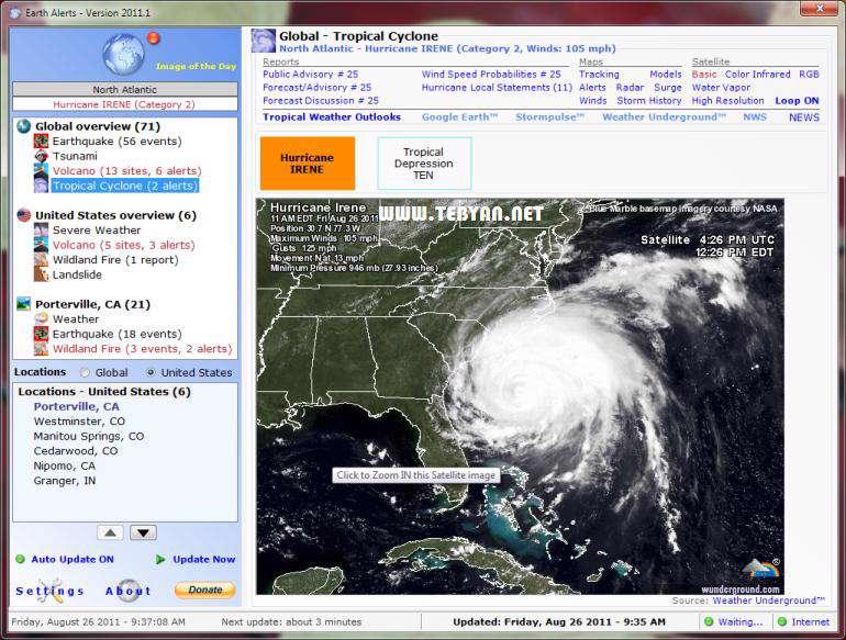 هشدار طبیعت و پیش بینی آب و هوا، Earth Alerts 2012.1.16