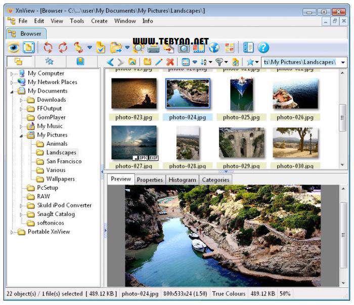 مشاهده و مدیریت قدرتمند تصاویر، XnView 1.99.0