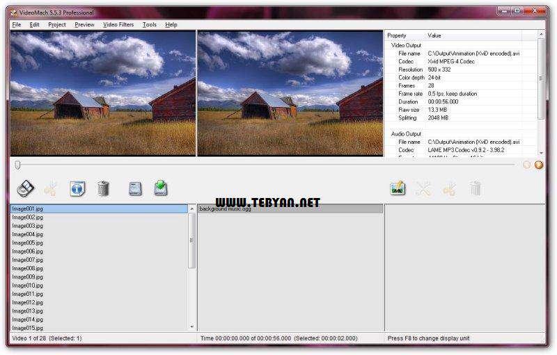 تبدیل تصاویر به فایل ویدیویی، VideoMach 5.9.4