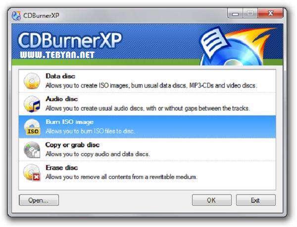 ابزار رایگان رایت لوح های فشرده، CDBurnerXP 4.4.1.3184