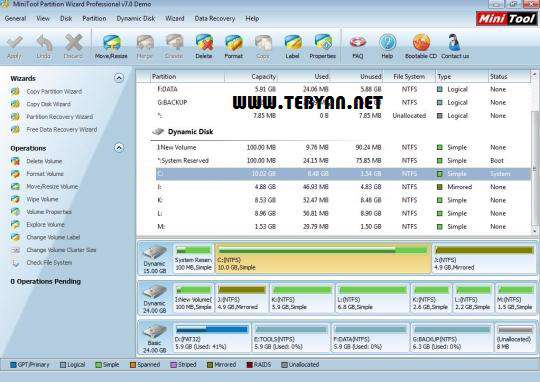 مدیریت پارتیشن ها، MiniTool Partition Wizard Professional 7.5