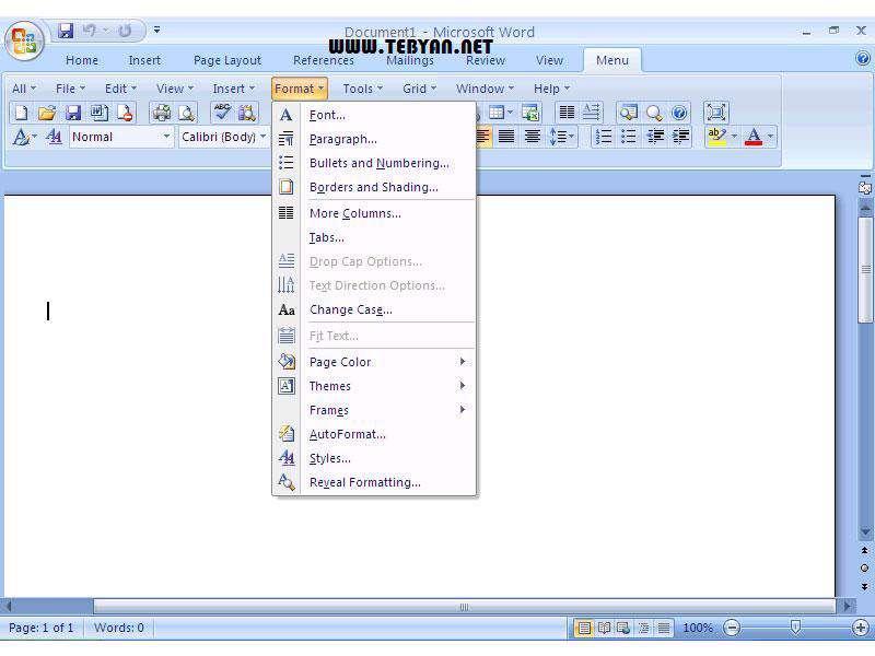 تغییر منوی آفیس 2007 به 2003، Classic Menu for Office 2007 v7.25