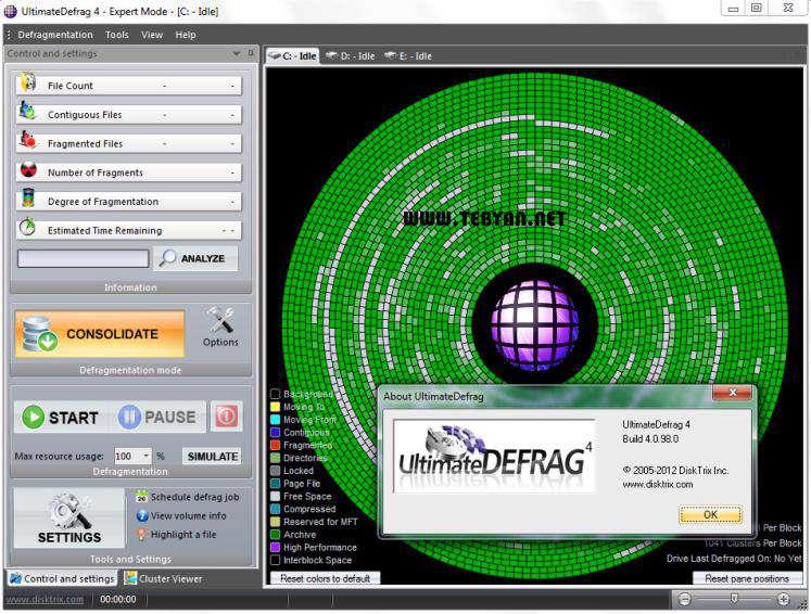 یکپارچه ساز قدرتمند هارد دیسک به همراه نسخه قابل حمل، DiskTrix UltimateDefrag 4.0.98.0