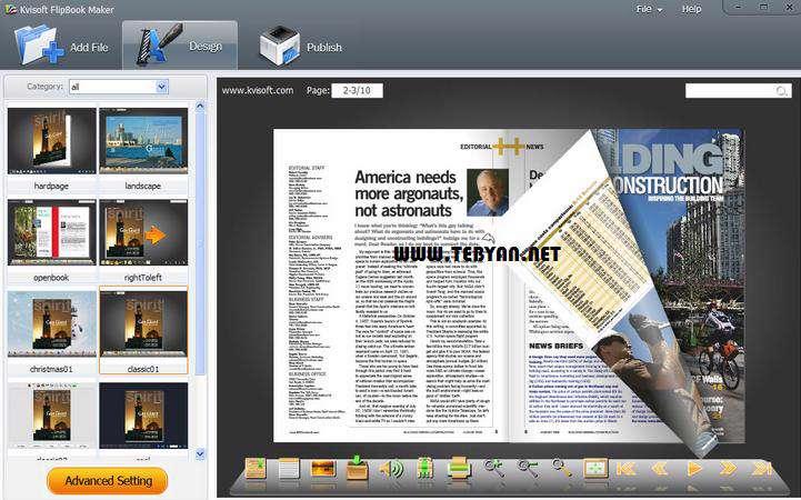 ساخت انواع کتاب، مجله و بروشور متحرک، Kvisoft FlipBook Maker PRO 3.6.0