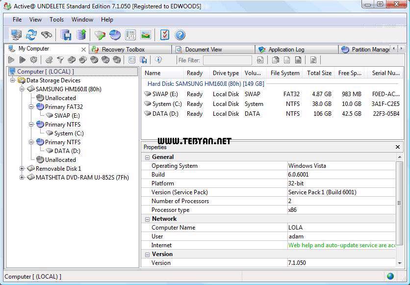 بازگردانی اطلاعات حذف شده، Active UNDELETE Enterprise 8.0.99