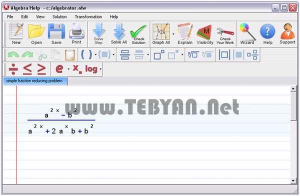 تحلیل معادلات ریاضی، Algebrator 4.1