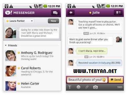 یاهو مسنجر نسخه اندروید، Yahoo! Messenger 1.8.0