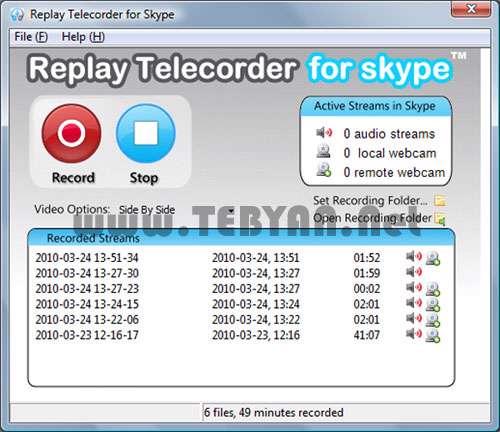 ضبط مکالمات اسکایپ، Replay Telecorder for Skype 1.3.0.12