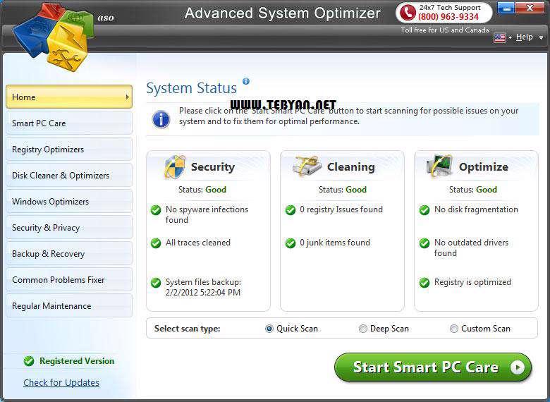 بهینه کننده ویندوز، Advanced System Optimizer 3.5.1000.13999