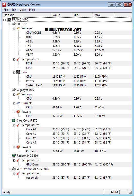 نمایش عملکرد سی پیو، CPUID HWMonitor Pro 1.14