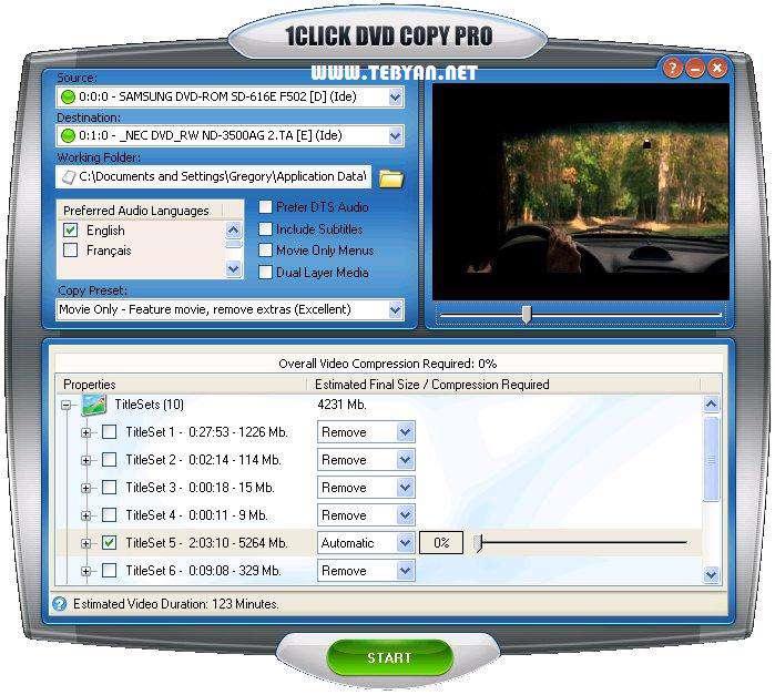 کپی سریع و آسان دی وی دی، 1CLICK DVD Copy Pro 5.1.1.0