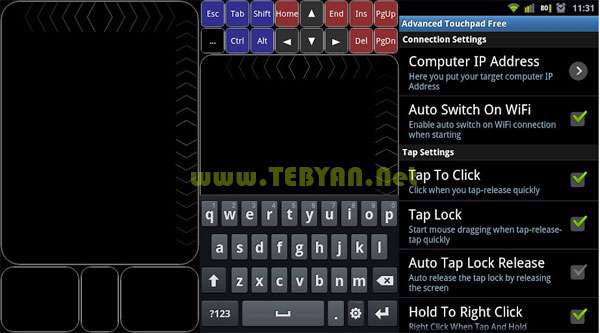 تبدیل موبایل به ماوس و کیبورد کامپیوتر نسخه اندروید، Arcoid Advanced Touchpad v3.7
