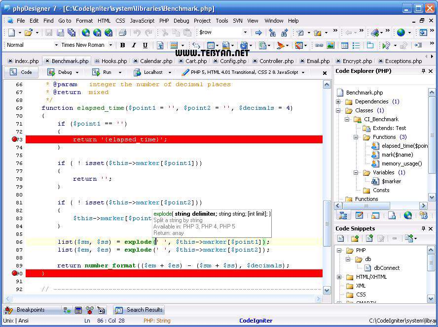 ساخت و ویرایش فایل پی اچ پی، PHPDesigner 8.1.0.10