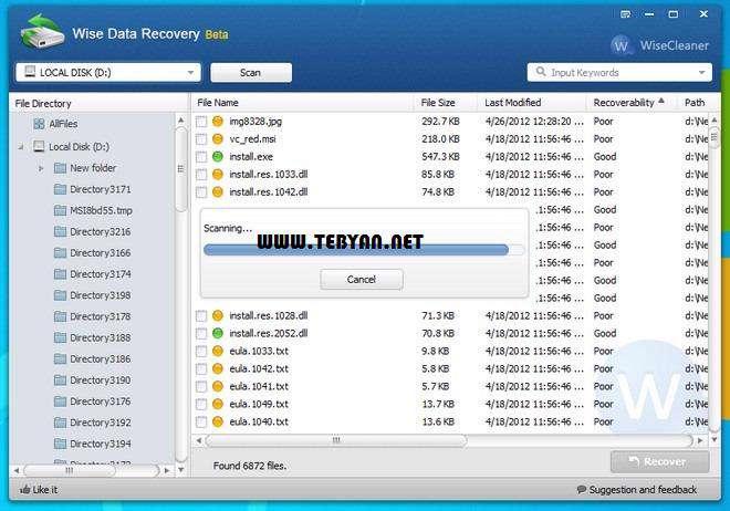 بازیابی اطلاعات از دست رفته + پرتابل، Wise Data Recovery 3.14