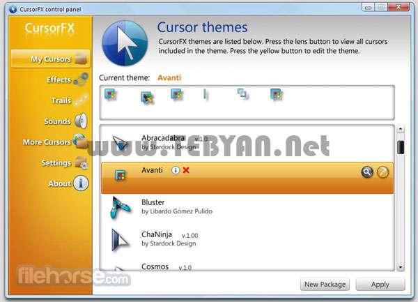 تغییر نشانگر ماوس، CursorFX 2.01 Plus