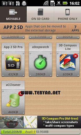 انتقال برنامه نصب شده از گوشی به کارت حافظه، App 2 SD 2.56