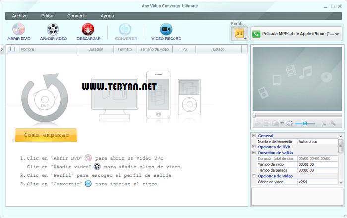 مبدل قدرتمند فایل های ویدیویی، Any Video Converter Ultimate 4.4.1