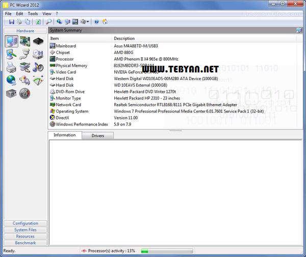آنالیز قطعات سخت افزاری، PC Wizard 2012.2.11