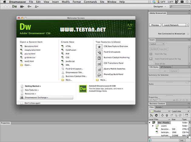 طراحی حرفه ای وب سایت، Adobe Dreamweaver CS6 12.0 build 5808