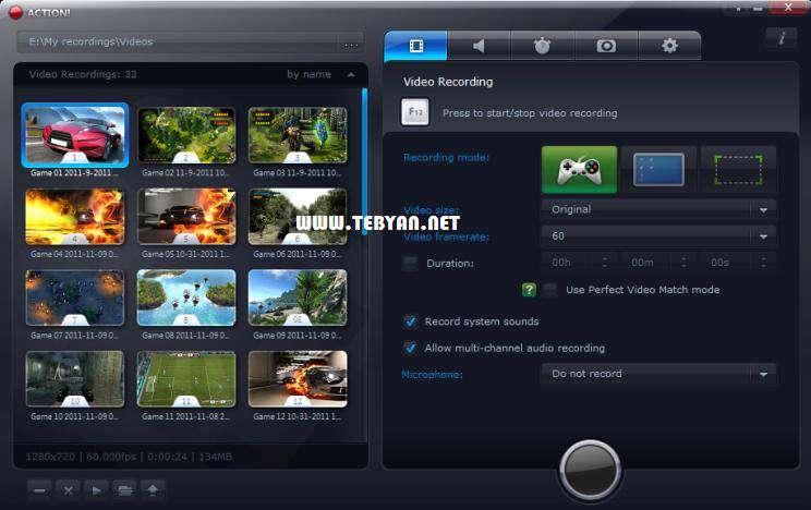فیلم برداری قدرتمند از محیط بازی و ویندوز، Mirillis Action! 1.12.0.0