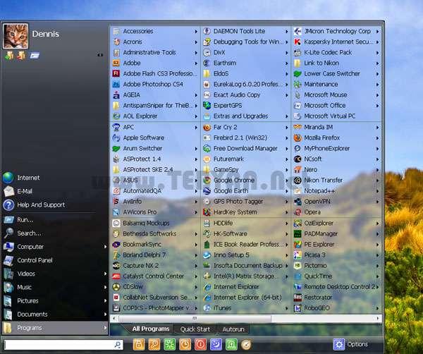 منوی Start پیشرفته ویندوز هفت، Start Menu x 4.57