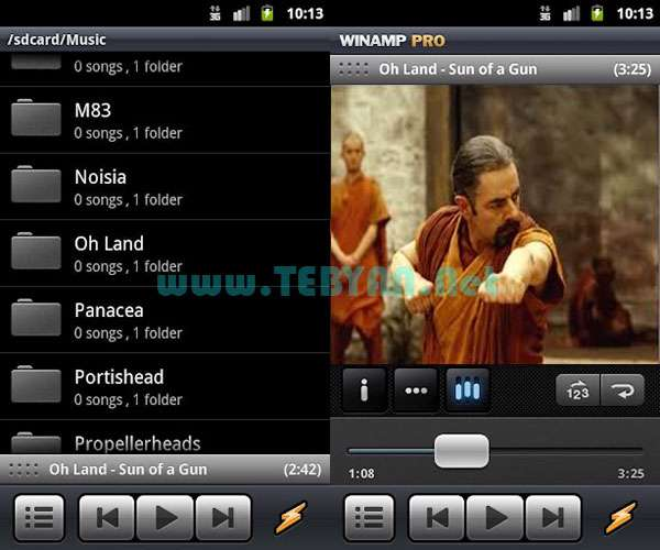 پلیر قدرتمند موزیک نسخه اندروید، Winamp v1.3.7