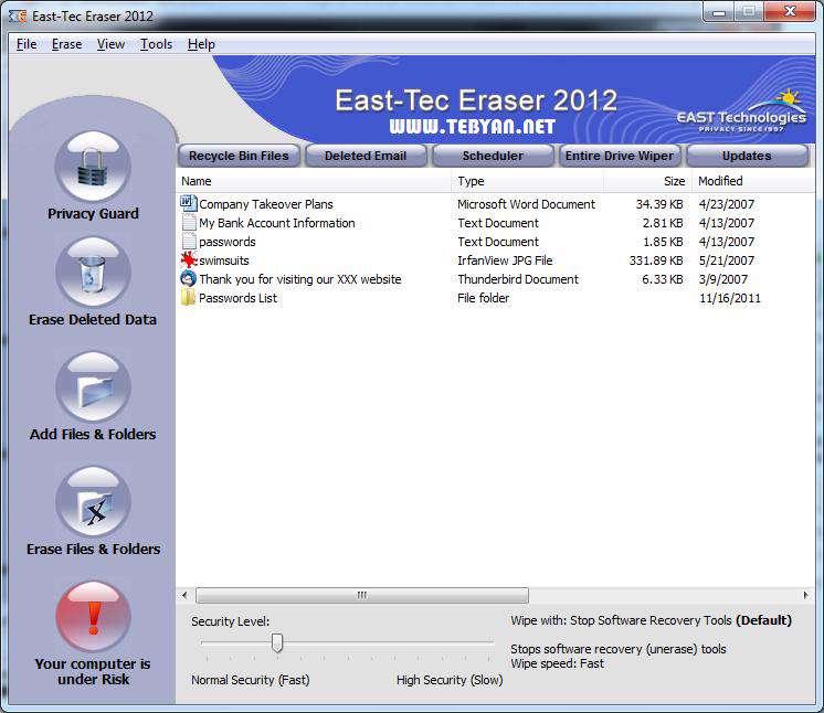حذف اثرات فعالیت های روزانه به همراه نسخه قابل حمل، East-Tec Eraser 2012 10.1.3.100