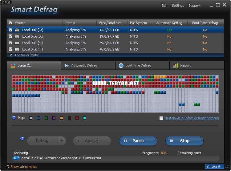 یکپارچه سازی هارد دیسک، IObit SmartDefrag 2.7.0.1165 Final