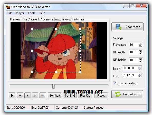 تبدیل فایل ویدیویی به فرمت تصویری گیف، Any Video to GIF Converter 1.5