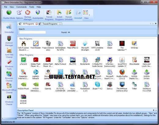 حذف کامل نرم افزار از رایانه + پرتابل، Revo Uninstaller Pro 2.5.9