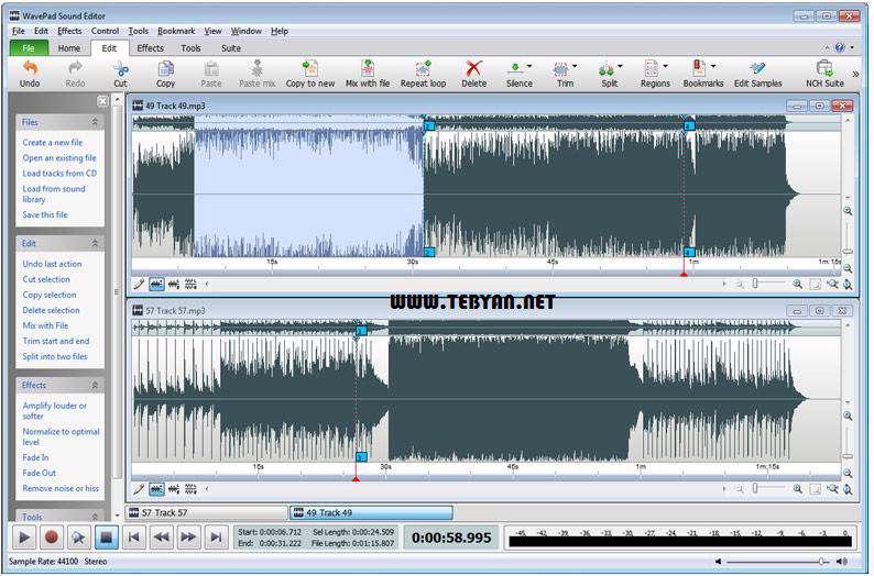 ضبط و ویرایش فایل های صوتی + پرتابل، WavePad Sound Editor 5.15
