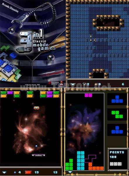 بازی سه گانه تنیس، مار و خانه ساز نسخه جاوا، 3in1 Classic Games