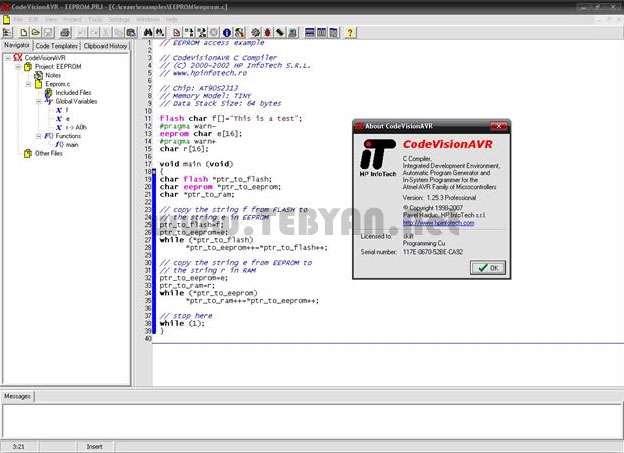 کامپایلر میکروکنترلهای AVR کد ویژن، CodeVisionAVR 2.05.3