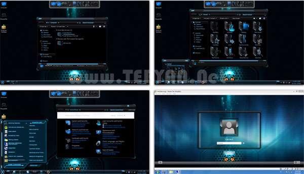 تم تبدیل ویندوز سون به پوسته فضایی، HUD Blue Skin Pack 1.0
