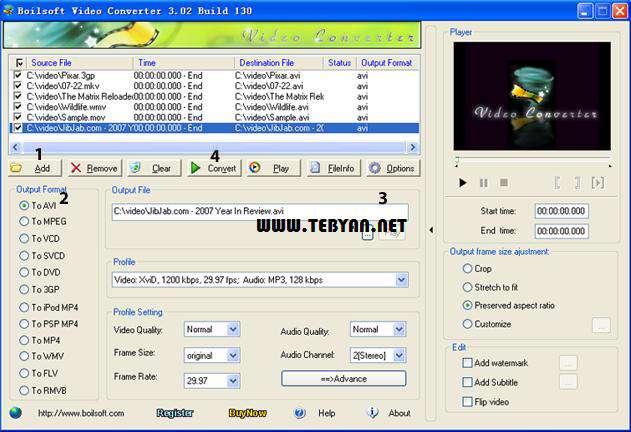 مبدل فایل های ویدیویی، Boilsoft Video Converter 3.02.5