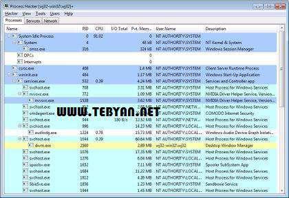 مدیریت حرفه ای رایانه، Process Hacker 2.29