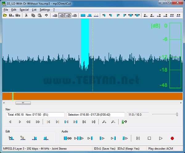 ویرایش فایل های صوتی، mp3DirectCut 2.17