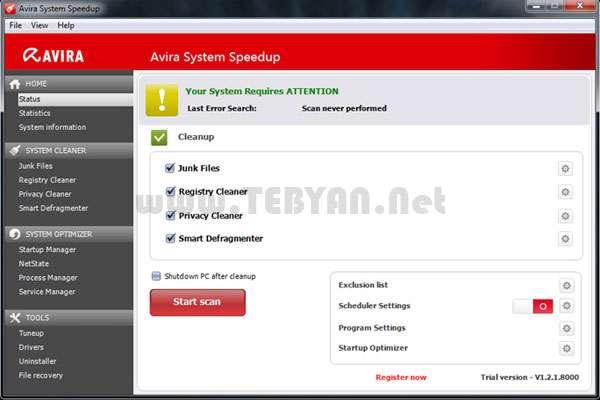 بهینه سازی و پاکسازی ویندوز، Avira System Speedup 2.6.1.2751