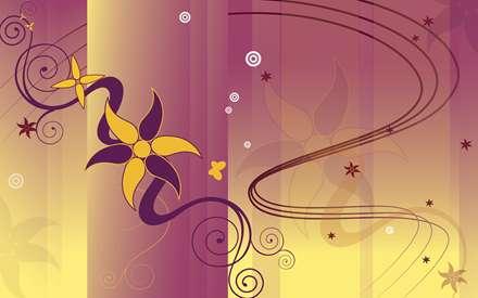 گل بنفش و زرد