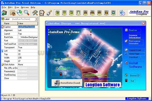 ساخت صفحه اتوران برای سی دی، Autorun Pro Enterprise II 6.0.1.136