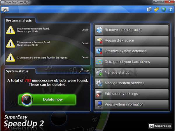بهینه سازی و افزایش سرعت سیستم، SuperEasy SpeedUp 2.0.1