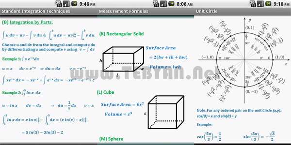کار با فرمول های ریاضی نسخه اندروید، Math Formulae Pro v1.6