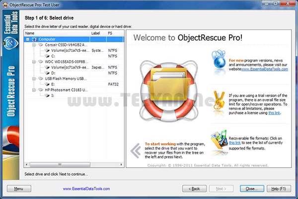 بازیابی قدرتمند اطلاعات،ObjectRescue Pro 6.9 build 947