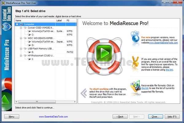 بازیابی فایل های صوتی و تصویری،MediaRescue Pro 6.9 build 947