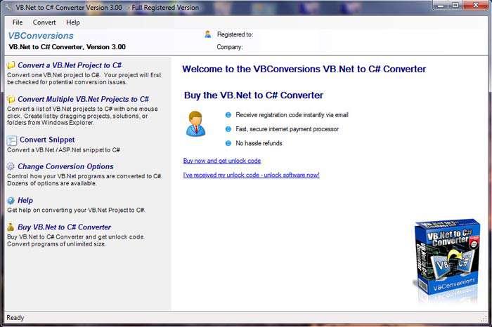 تبدیل پروژه های VB.Net به سی شارپ، VB.Net to C# Sharp Converter 3.03