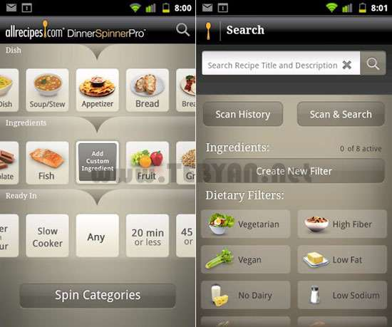 نرم افزار آشپزی آنلاین نسخه اندروید، Allrecipes Dinner Spinner Pro v2.1.0