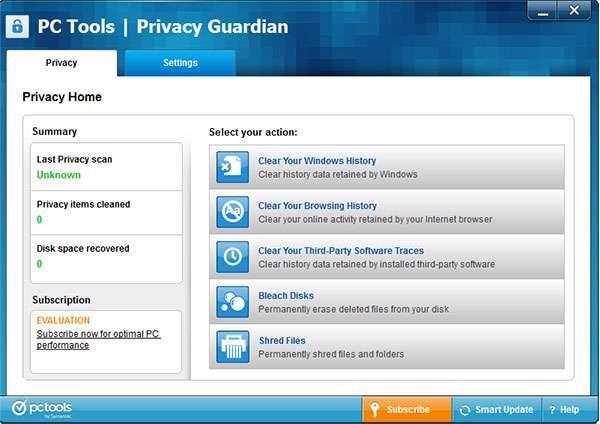 پاکسازی رد پای کاربر در سیستم، PC Tools Privacy Guardian 5.0.1.269