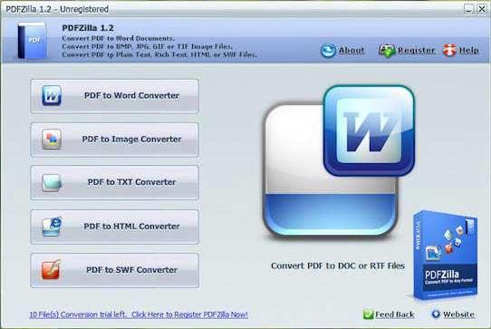 تبدیل فایل های PDF به فرمت های دیگر، PDFZilla 1.2.11