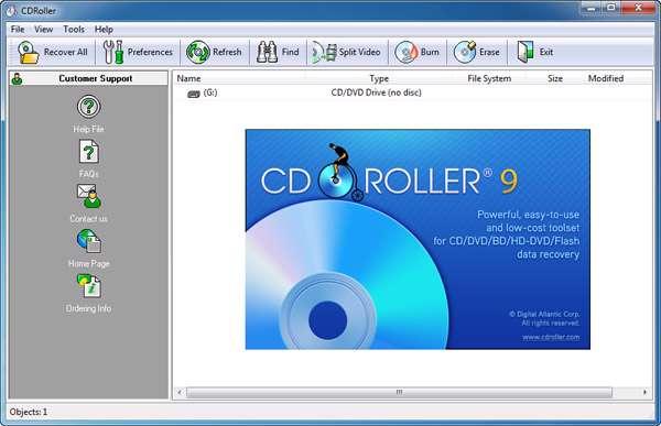 بازیابی اطلاعات از لوح های فشرده به همراه نسخه قابل حمل، CDRoller 9.50.30
