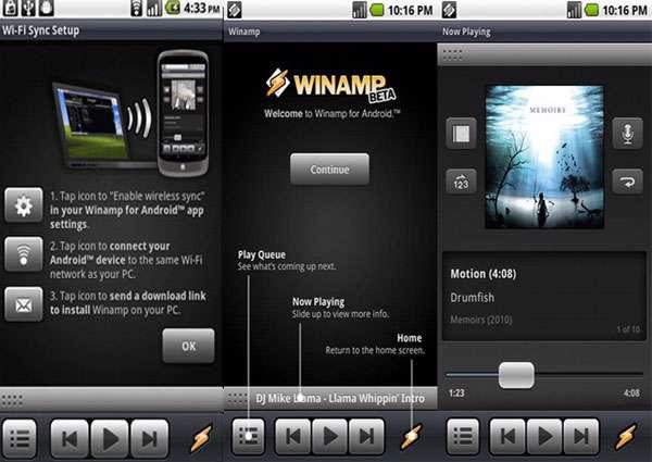 پلیر قدرتمند موزیک نسخه اندروید، Winamp v1.4.8